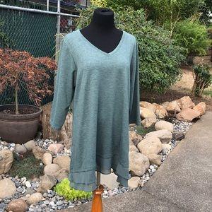 Sage green tunic with layered sheer bottom